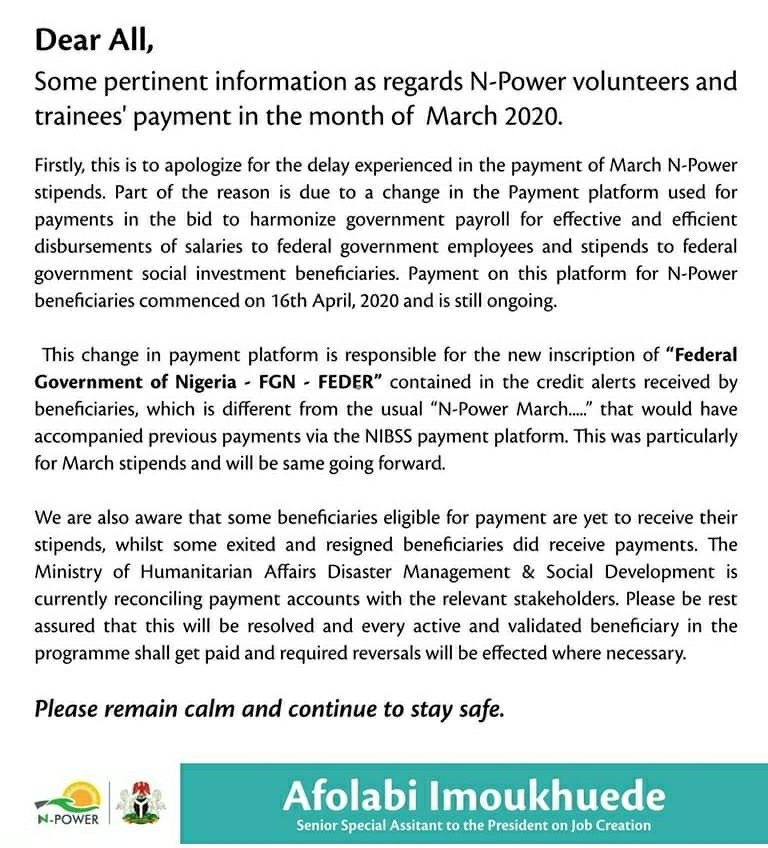npower stipend news